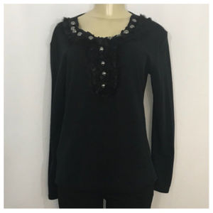 Black Rabbit Fur and Button Sweater Large